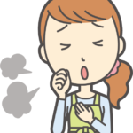 咳をする女性のイラスト